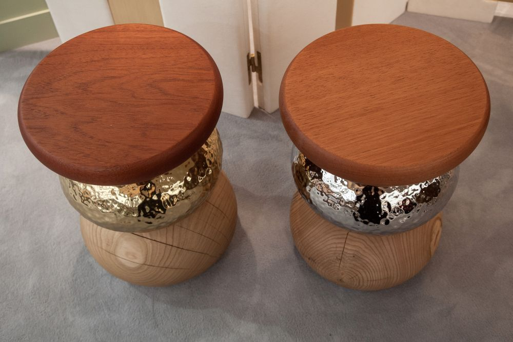 Pebble - stool - sidetable with wood and mirrored accents