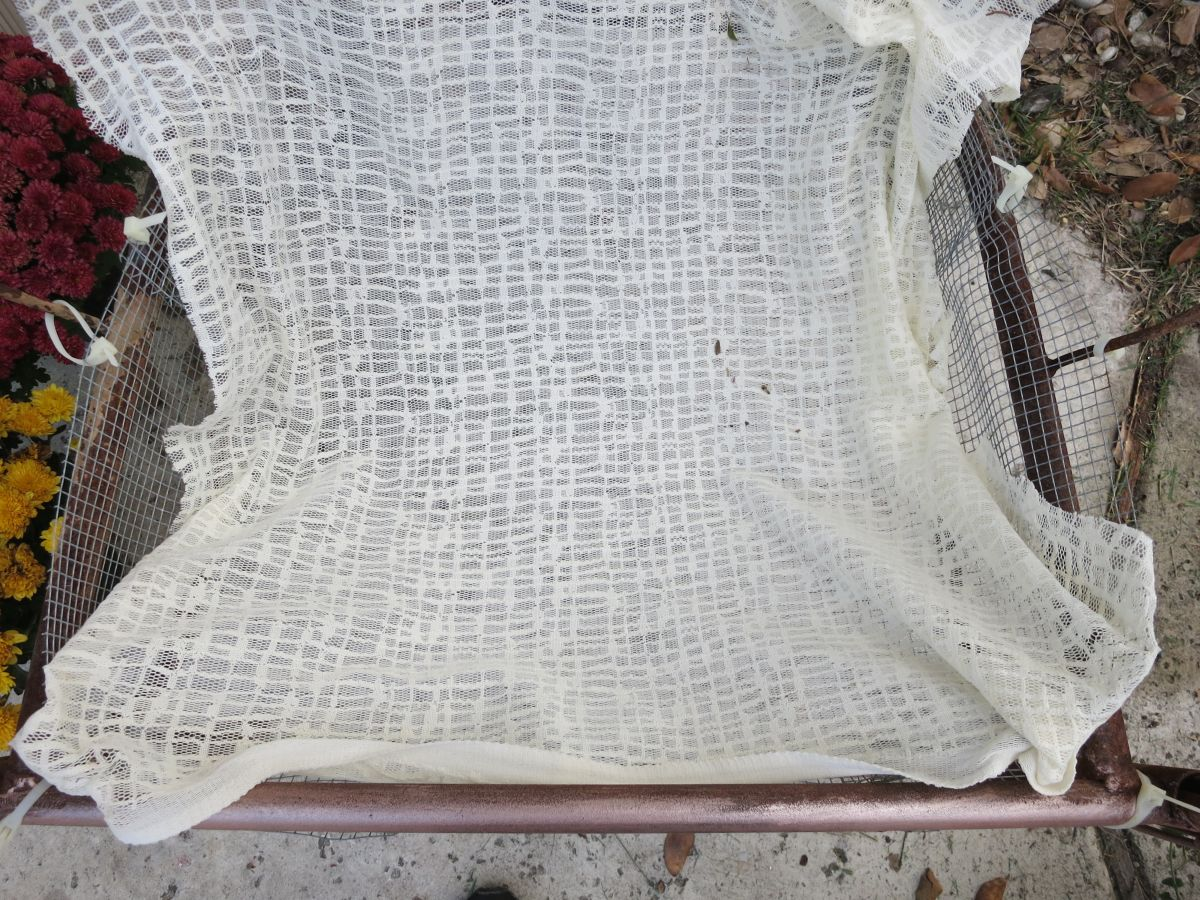Turn a Chair into a Garden Bed - white fabric