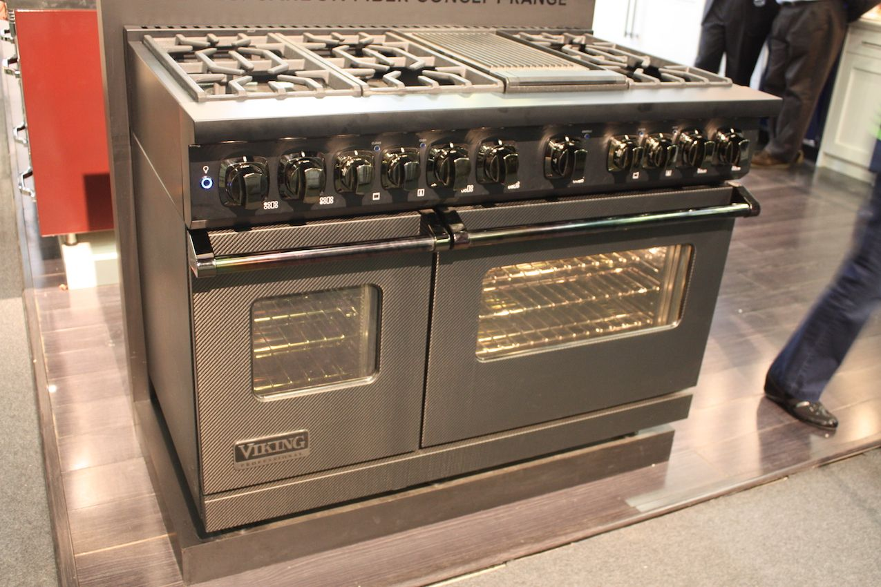 Those who prefer a traditional gas range can have innovative finishes like Viking's carbon fiber model.