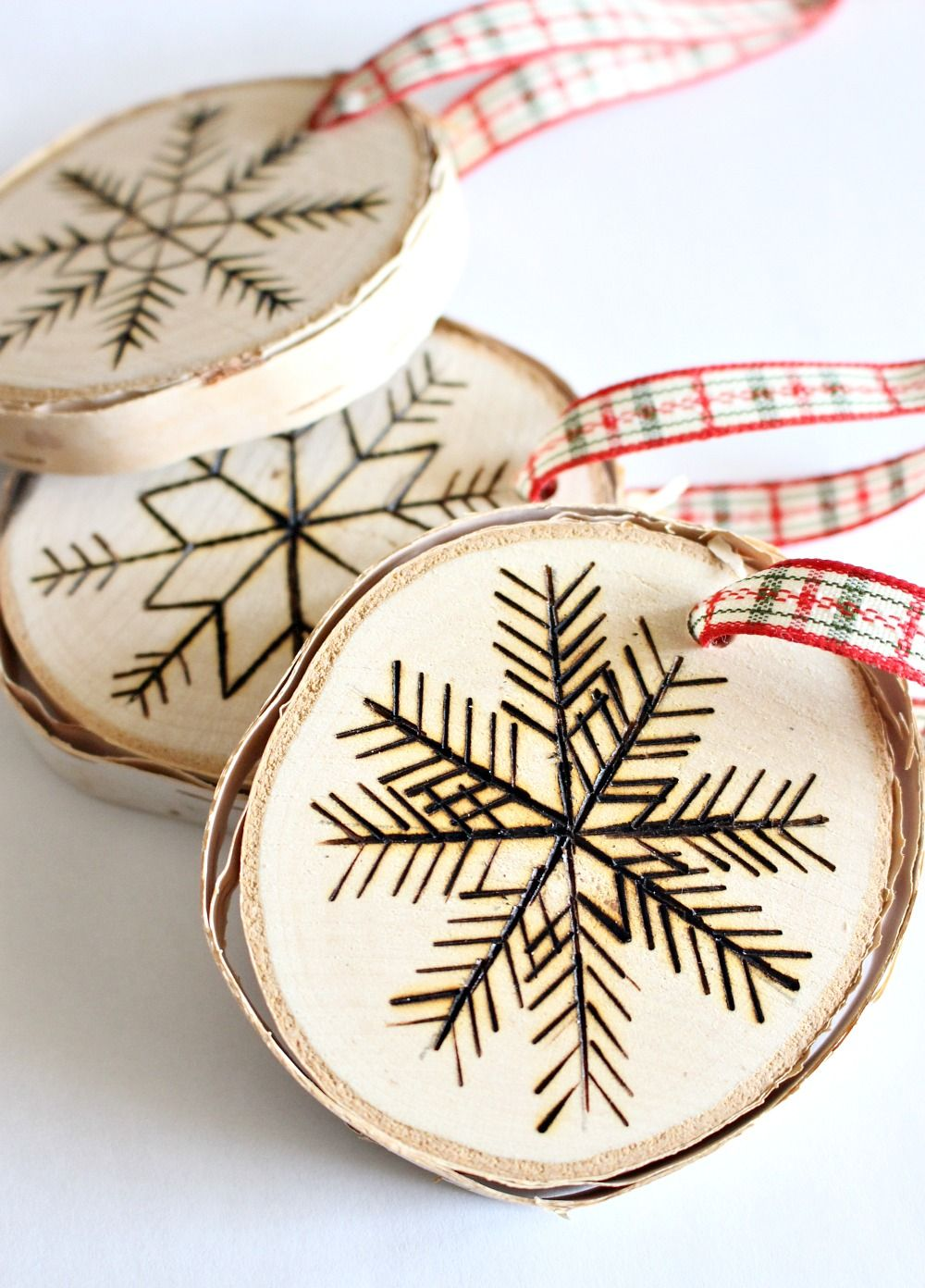 Birch wood slice ornament