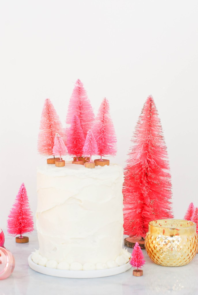 Bottle brush tree cake toppers