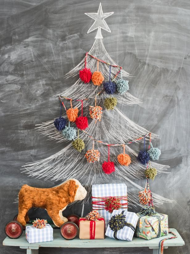 Chalkboard Christmas Tree and Colorful Garland