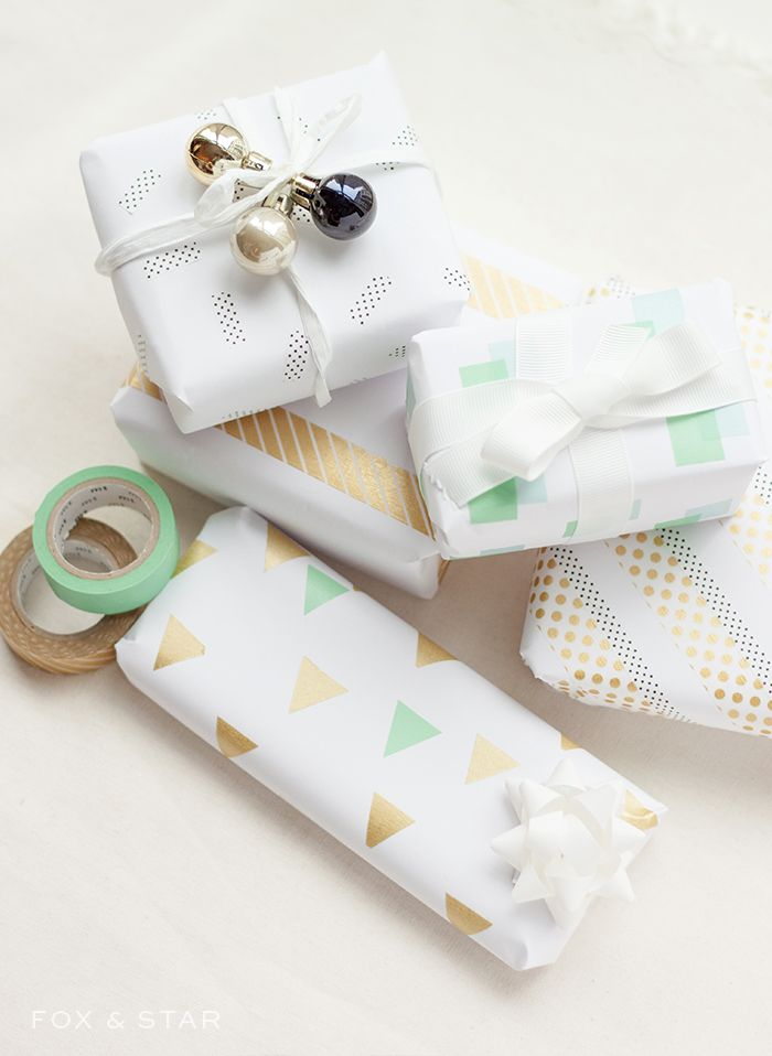 Christmas washi tape gift wrap