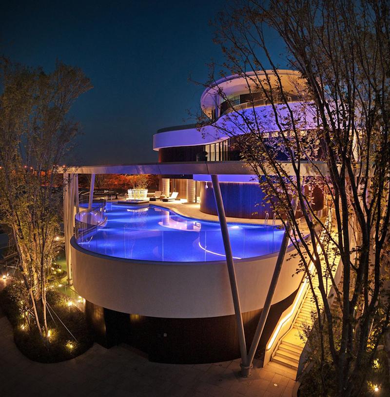 Community Clubhouse illuminated pool