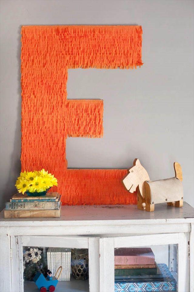 DIY giant fringe monogram