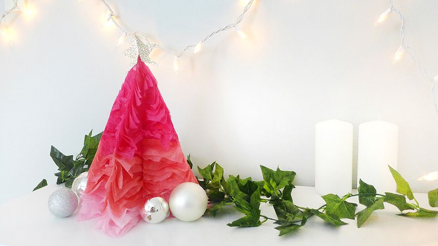 DIY ombre ruffle tree
