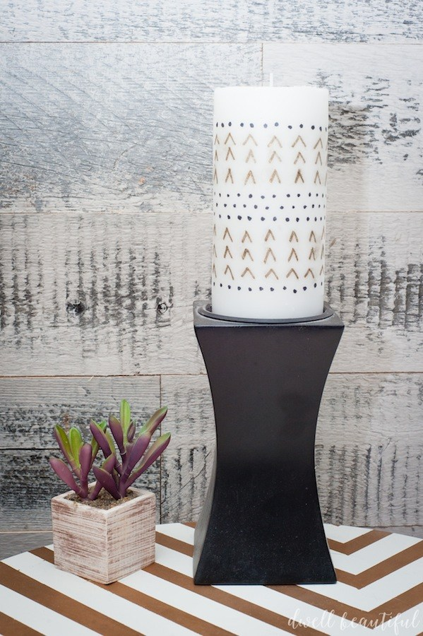 DIY sharpie patterned candles