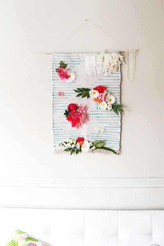 DIY woven floral art
