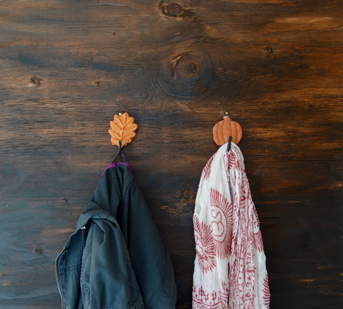 Fall Inspired Leaf and Pumpkin Wall Hooks Easy Project
