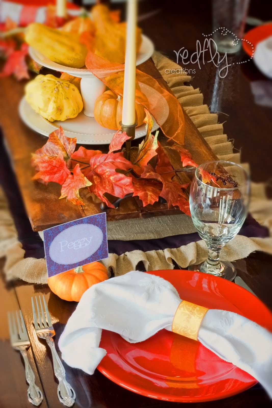 jewel toned thanksgiving table decor