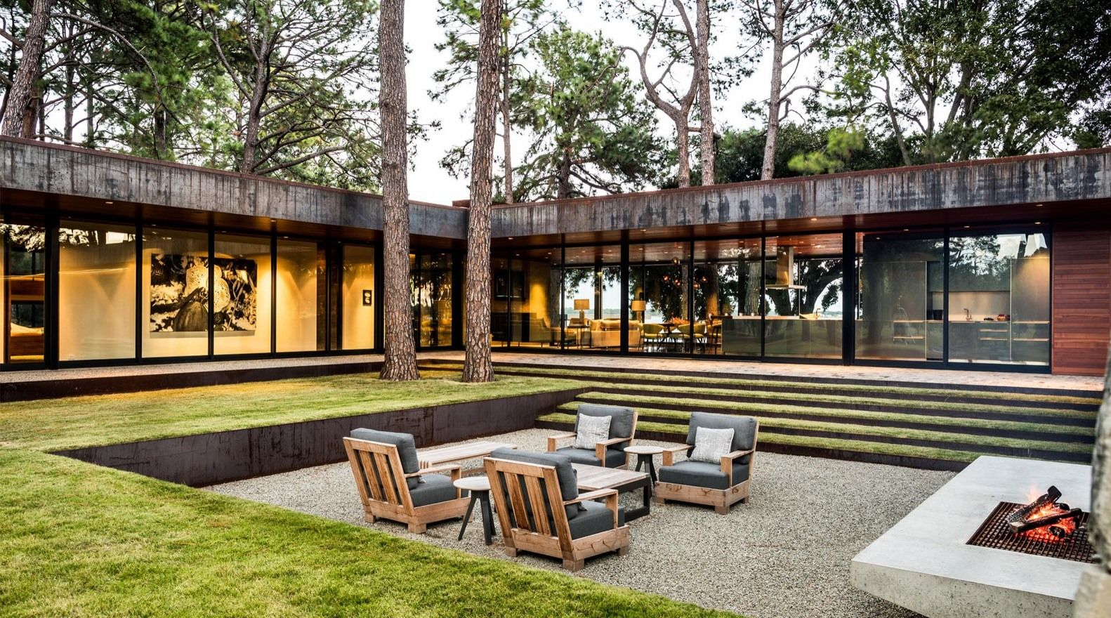 sunken gardens and backyards blend privacy and closeness to