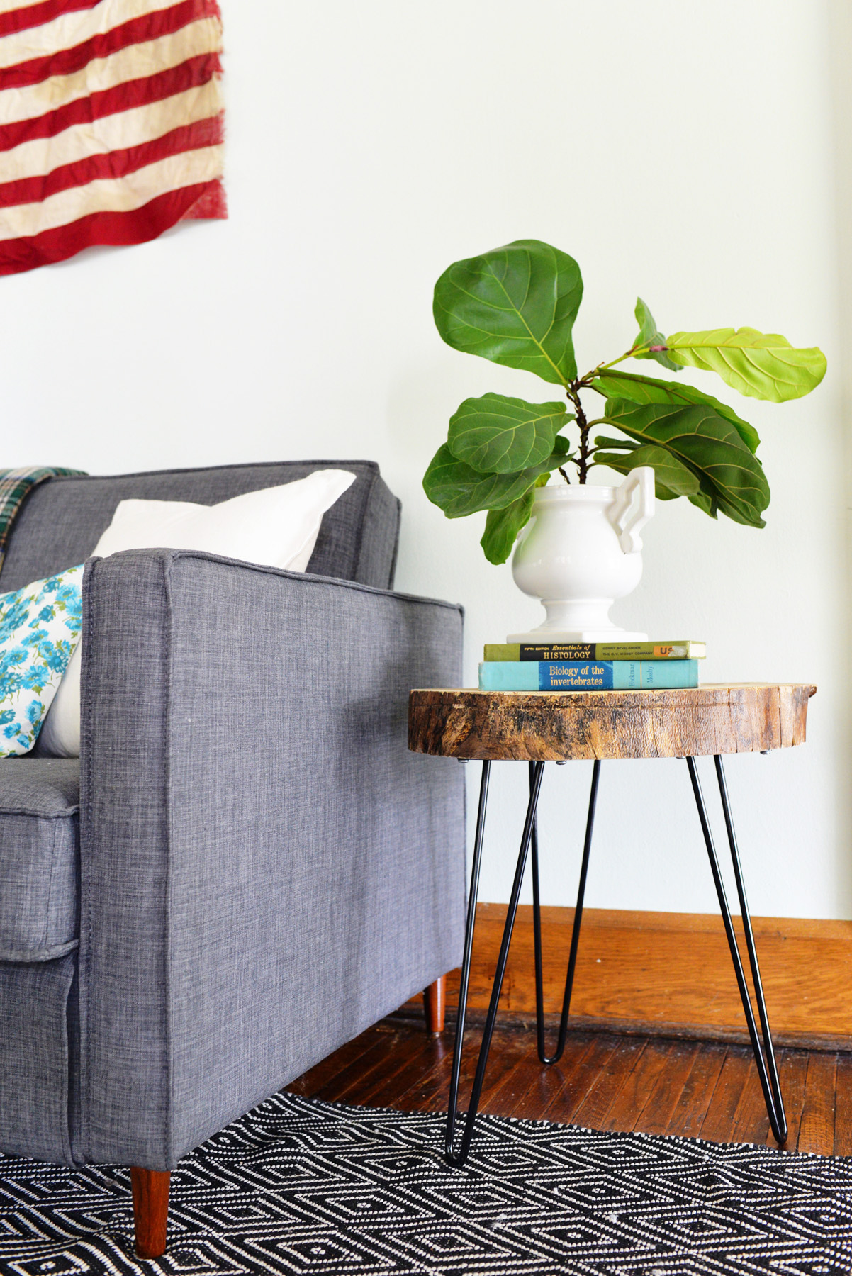 diy side table with a wooden slab and