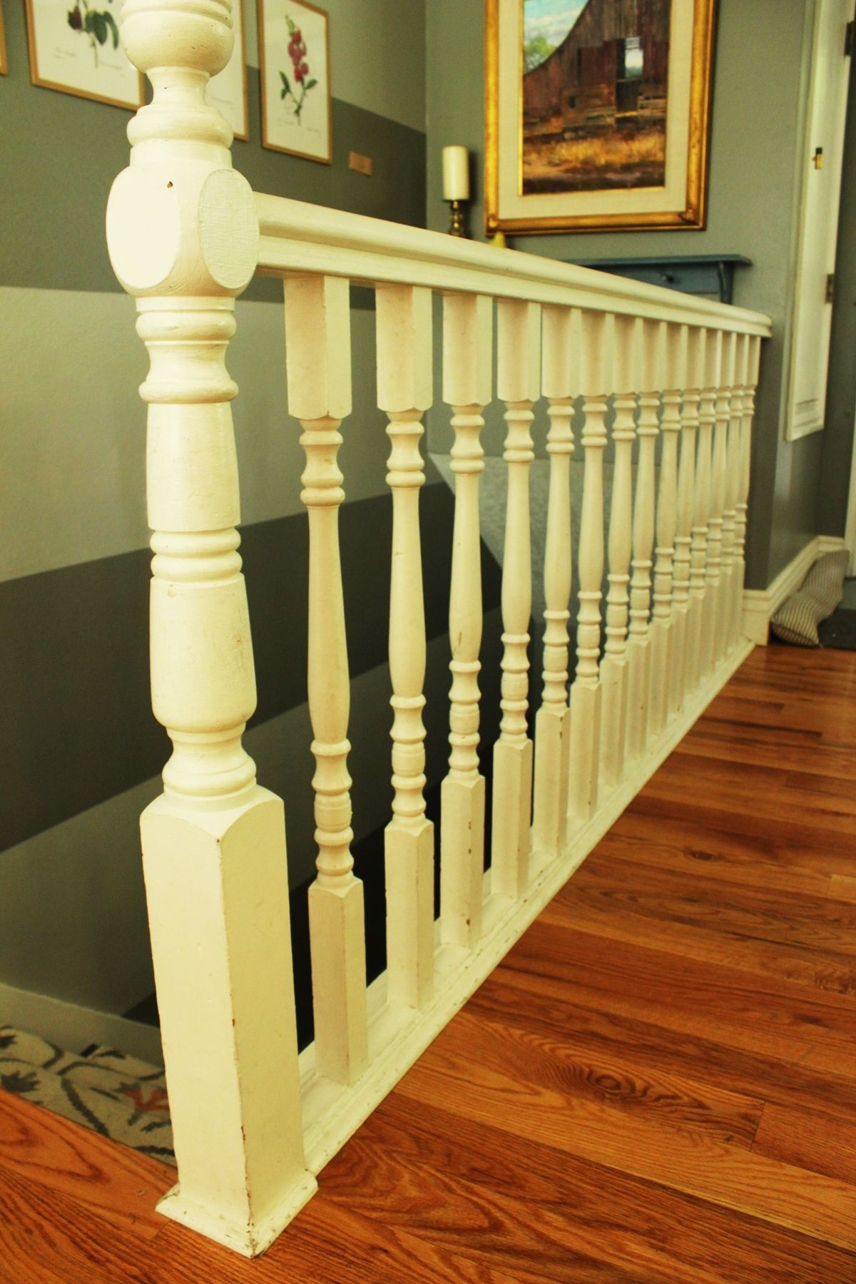 Diy Stair Handrail With Industrial Pipes And Wood | Replacing Stair Railing And Spindles | Paint | Newel Post | Iron Spindles | Wood Balusters | Stair Treads