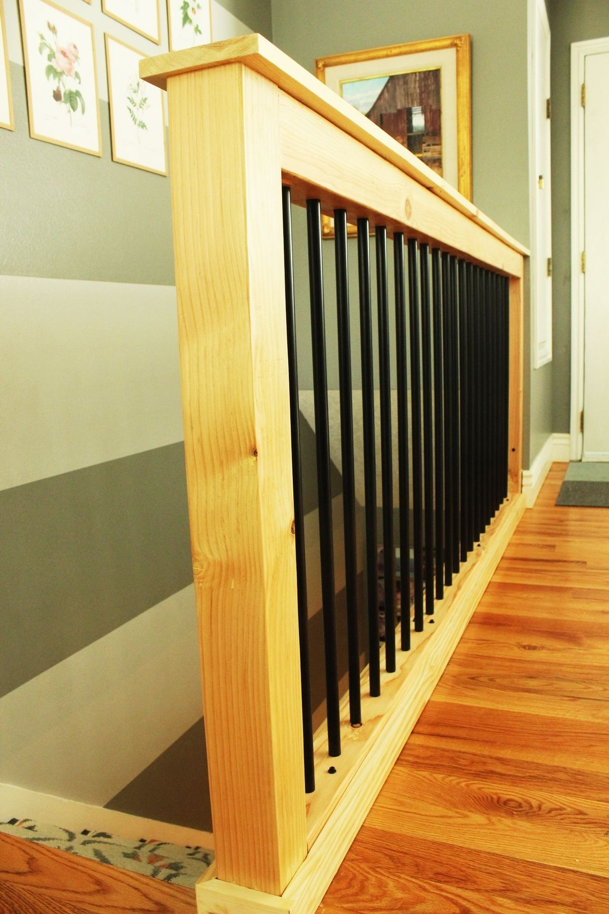 Diy Stair Handrail With Industrial Pipes And Wood | Industrial Pipe Stair Railing | Threaded Pipe | Rail | Banister | Galvanized Pipe | Wall