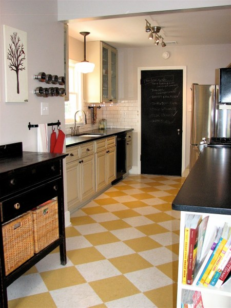 18 Beautiful Examples of Kitchen Floor Tile 5  Yellow Chess