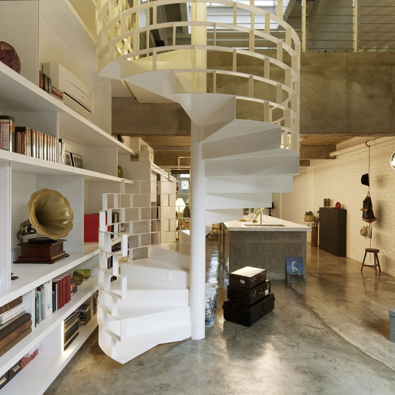 20 Of The Most Beautiful Spiral Staircase Designs Ever | Semi Spiral Staircase Design | Handrail | Inside | Semi Circular | Elegant | Residential Library