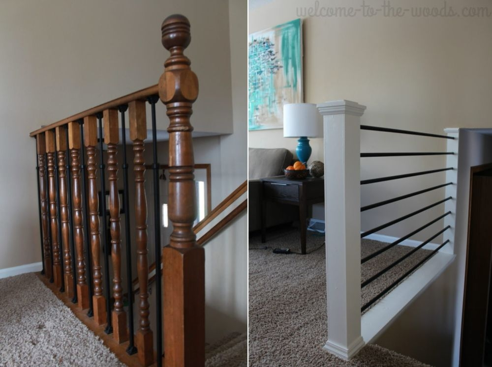 How To Give Your Old Stair Railings A Fresh New Look On A Small Budget | Short Handrail For Stairs | Exterior Handrail Ideas | Deck Railing Ideas | Spiral Staircase | Concrete | Wrought Iron