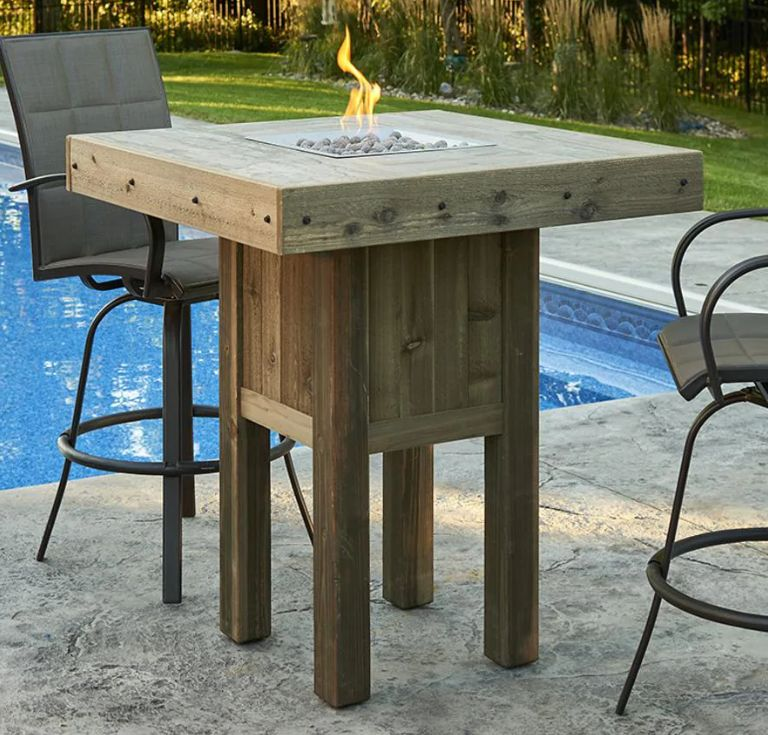 backyard with a new patio bar table