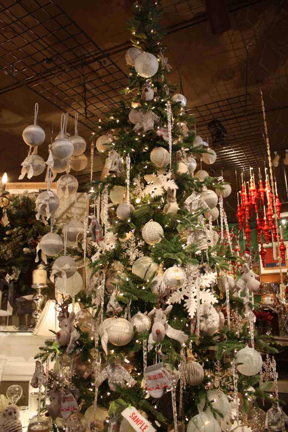 Beautiful indoor christmas tree decorated with lights