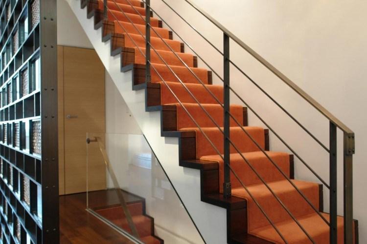 Village Townhouse By Axis Mundi | Burnt Orange Stair Carpet | 4500 10538 | Non Slip | Orange Area Rug | Overstock | Self Adhesive