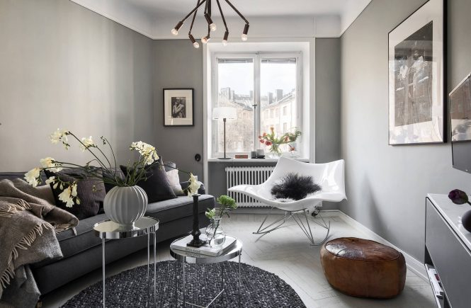 A Cozy Grey Scandinavian Studio Apartment