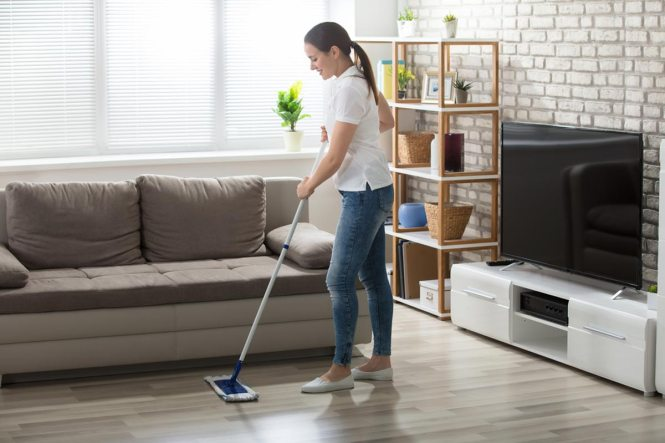 Apartment Cleaning Hy Young Maid Mopping Floors