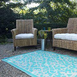 cream turquoise plastic outdoor rug