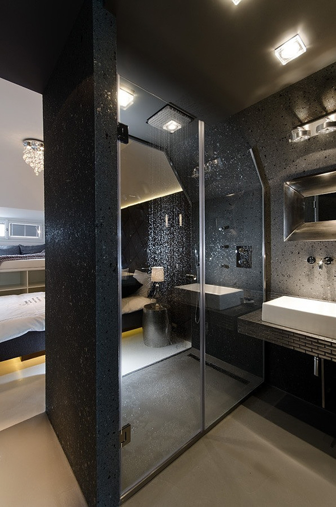 Small Tiny Minimalist Black And White Apartment In Prague