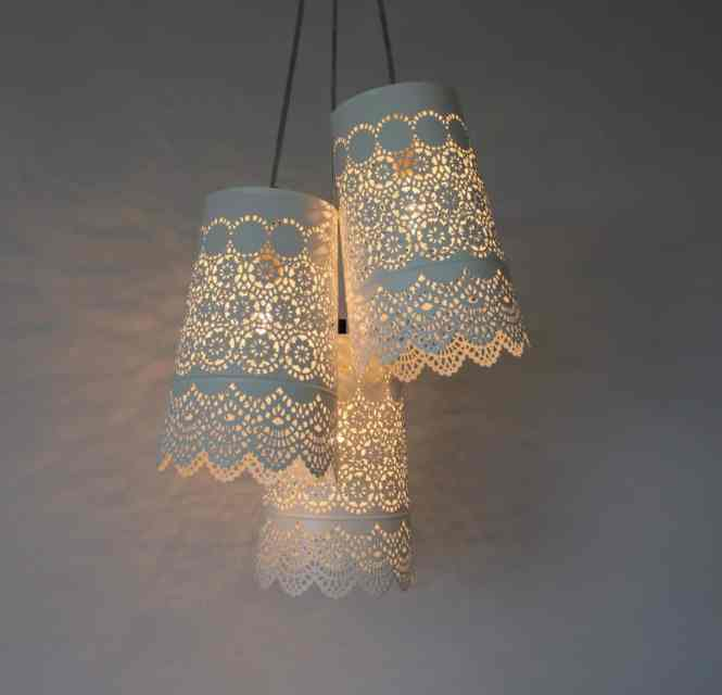 20 A Chandelier Diy Idea Made From Black Lace Cloth