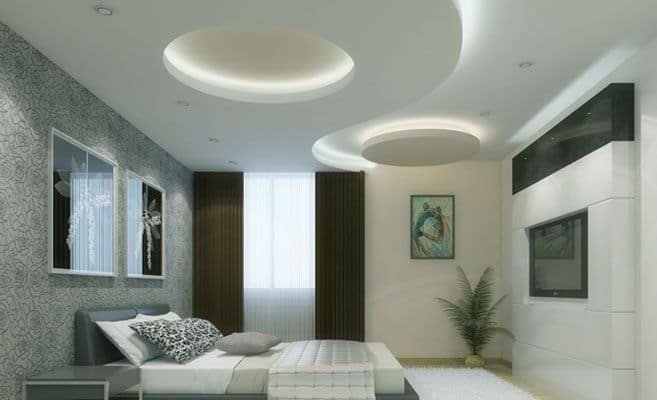 29 A Simple White Circular Patterned Drop Ceiling