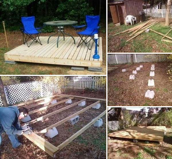 How to build a deck on cinder blocks how to Floating deck cinder blocks