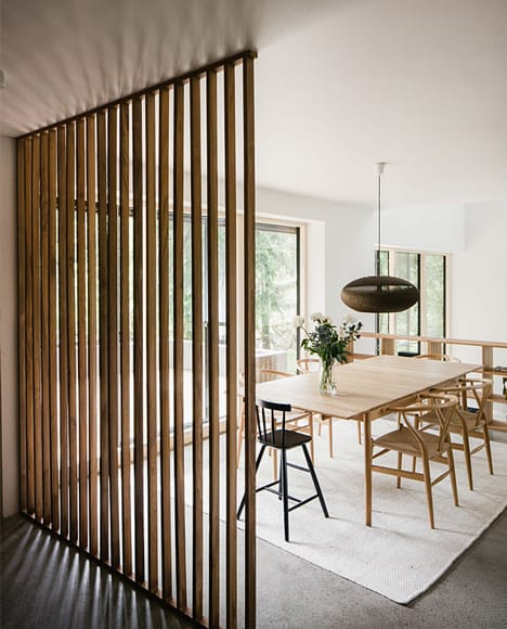 Simple Thin Wooden Stripes Can Filter Natural Light And Define Your Layout