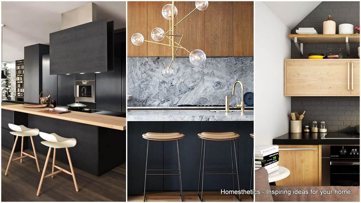 Outstanding Black And Wood Kitchens That Will Add Style To