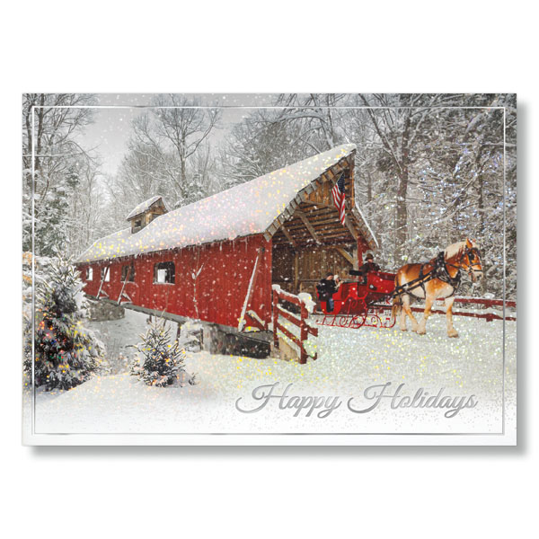 Covered Bridge With Horse Drawn Sleigh Holiday Card