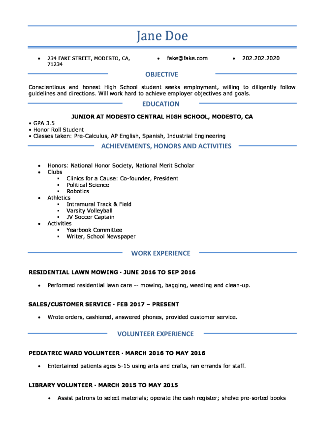 High School Resume - Resume Templates For High School Students and