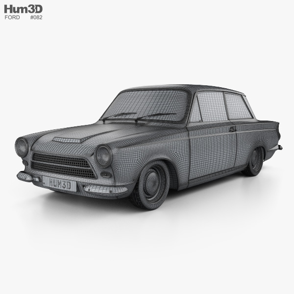 Ford Lotus Cortina Mk1 1963 3d model wire render