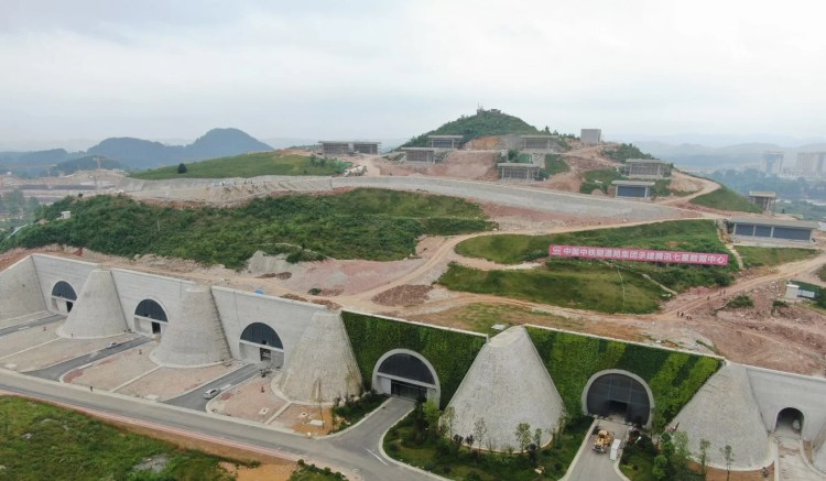 Aerial view of Tencent's biggest data Centre during its construction in the mountainous area of the hinterland in Anshun, Guizhou Province of China in May 2019. Photo: Visual China Group via Getty Images
