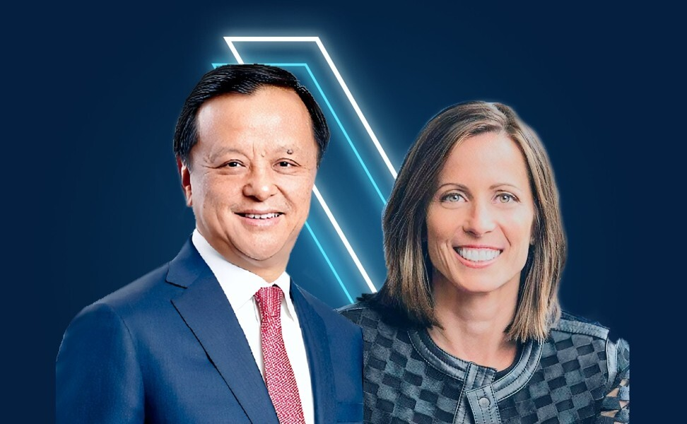 HKEX executive director and chief executive Charles Li Xiaojia (left) and Adena Friedman, CEO of Nasdaq.