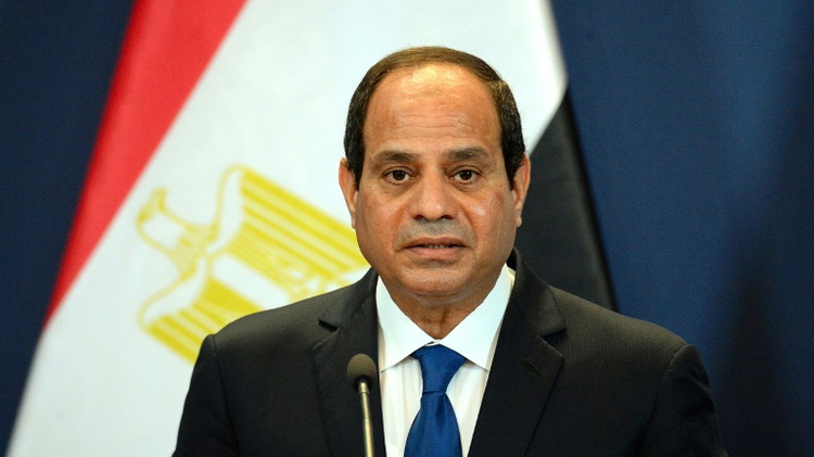 Egypt's President Abdel Fattah al-Sisi speaks at a joint press conference with Hungarian Prime Minister as the met at the parliament building in Budapest on June 5, 2015