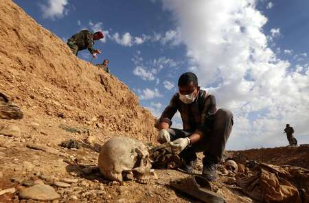 Un Irakien examine des ossements humains de la minorité yézidie après la découverte d'un charnier le 3 février 2015 dans le village de Sinuni dans la région Sinjar ( Safin Hamed (AFP) )