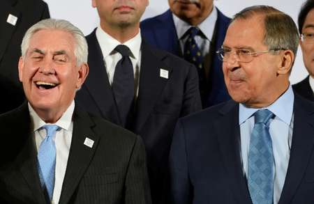 After meeting Russian Foreign Minister Sergei Lavrov (R), US Secretary of State Rex Tillerson (L) said the US sought cooperation with Moscow only if it
