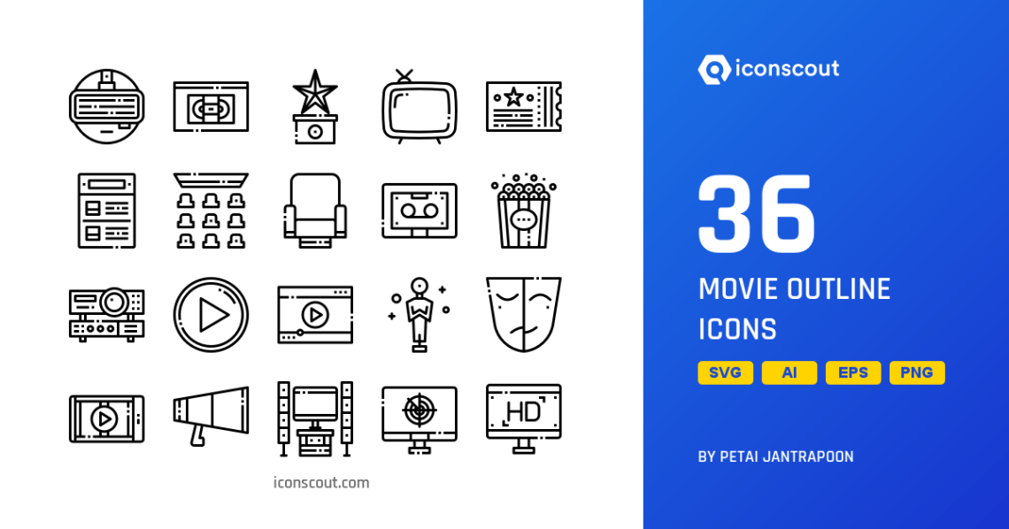Download Download Movie Outline Icon pack - Available in SVG, PNG ...