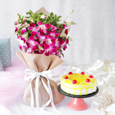 Cakes And Flowers Combo Online Cake With Flower Delivery Igp