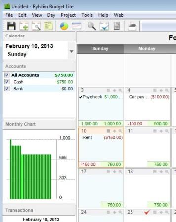 Rylstim Budget Lite working transactions