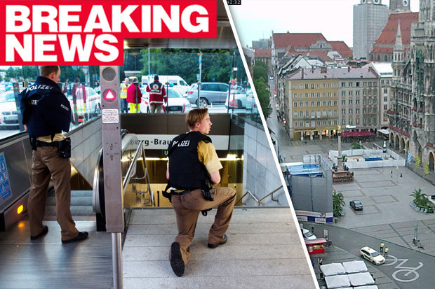 Munich police live footage of the aftermath of the second shooting