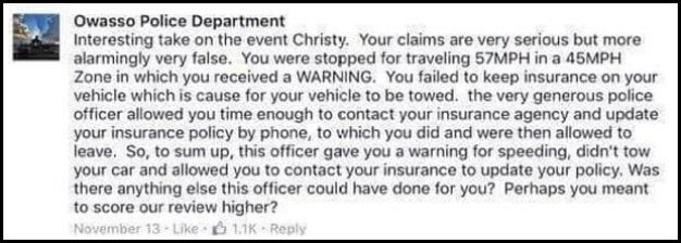 Police reply to the complaint