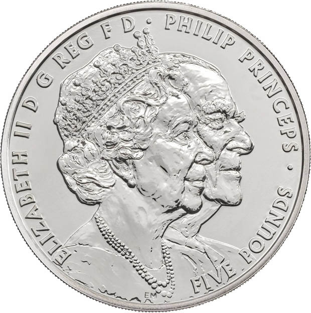 The coin with Prince Philip and the Queen