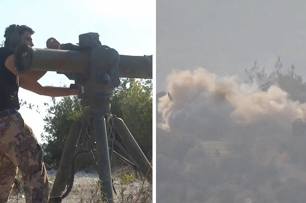 Free Syrian Army forces with missile and the ensuing blast