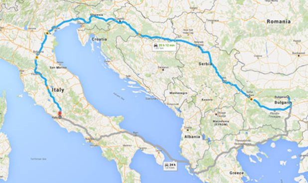 Map og Italy and Bulgaria