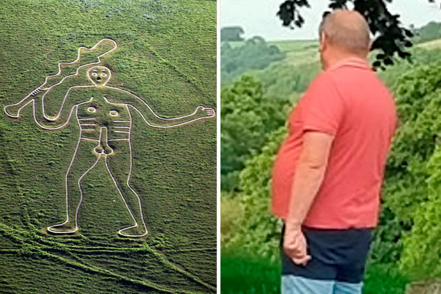 A man apparently flashes himself in front of the Cerne Abbas Giant